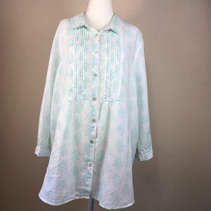 J Jill Linen Button Down Shirt Tunic 1X/2X